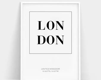 London Print Poster, London City Print, England Print, Coordinates Print, London Wall Art, Bedroom Wall Art, Typography Print, New home Gift