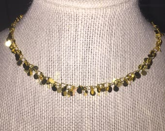 Gold cluster coin choker