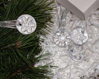 Clay snowflake Christmas ornament, Christmas tree decoration, Christmas tree decor, Christmas tree ornament, White Christmas toy, snowflake