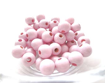 50 wooden 10mm - Rose Tendre pacifier beads