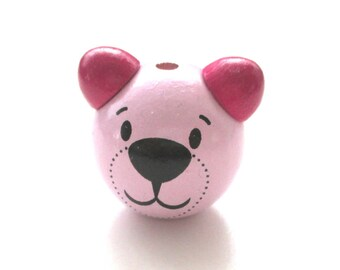 Wooden 3D head of Teddy bear soft pink and Fuchsia bead
