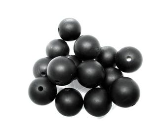 10 15mm - black Silicone beads