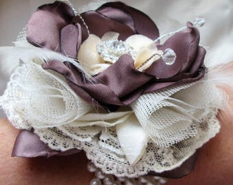 LUXURIOUS WRIST CORSAGE, Fabric Wrist Corsage for Bridesmaid, Mother of Bride, Mother of Groom