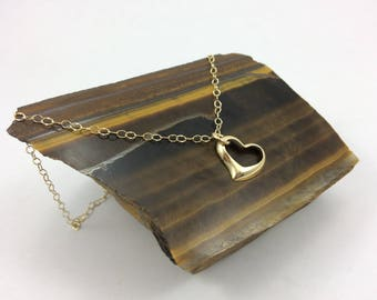 Gold heart Necklace, Dainty Gold necklace, gold filled necklace, dainty necklace, floating heart necklace, Love necklace