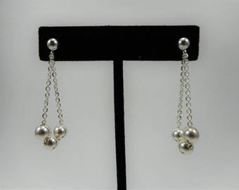 Sterling Silver Bead earrings, Sterling Chain earrings, sterling silver earrings, dangle earrings, Chain earrings, simple earrings,