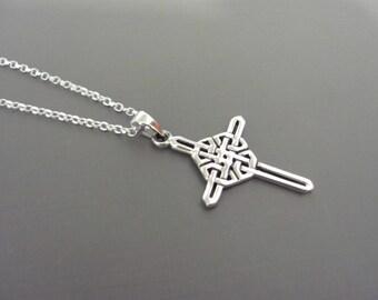 Silver Celtic Cross necklace, Irish Cross necklace, Irish Celtic Cross necklace, Silver cross, Sterling silver cross, Unisex man necklace