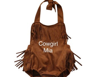 Personalized Baby Cowgirl Romper,  Brown Fringe Baby Romper