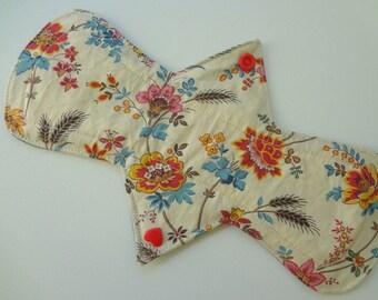 "10"" Regular Flow - Aqua Red Floral - Waterproof Reusable Cotton Cloth Sanitary Pad"