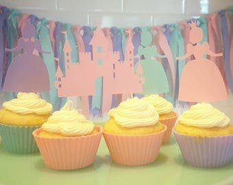 Princess Cupcake Toppers, Castle Cupcake Topper, Set of 12