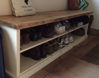 6ft Solid Wood Shoe Bench