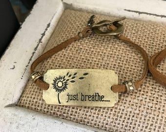 Inspirational suede bracelet.