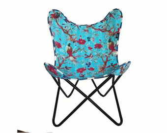Handmade butterfly chair with vintage Indian textiles