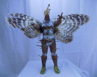 Bird Man Giant taxidermy Sculpture. Vulture face rust demon claws