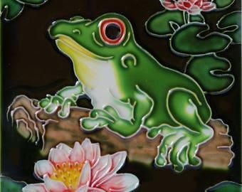 Handmade decorative ceramic tile frog