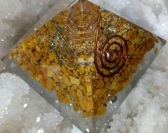 Orgone Pyramid- YELLOW JASPER stone with pyraite and copper 50mm.
