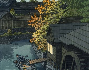 "Japanese Art Print ""Kasaimachi in Tochigi Prefecture"" by Kawase Hasui, woodblock print reproduction, asian art, Autumn, evening, river, mill"