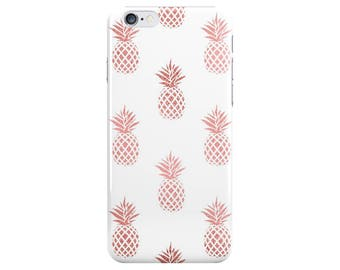 Rose Gold Pineapple Food White Summer Phone Case Cover for Apple iPhone 5 6 6s 7 8 Plus & Samsung Galaxy