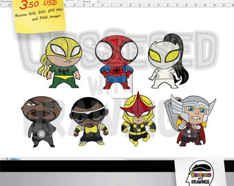 Chibi Spiderman and friends SVG patterns and PNG images with excellent resolution, papercraft applications and more, Marvel chibi heroes