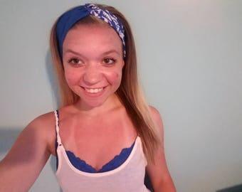 Blue Floral Turban Twist Headband