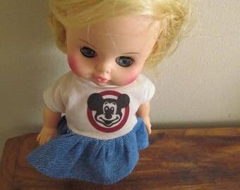 "1970s Vintage 8"" Horsman Mickey Mouse Club Doll & Dress"