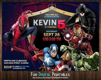 Superhero Invitation, Superhero Birthday Invitation, Superhero Party Invitation, Superhero invitation boy, Spiderman birthday invitation
