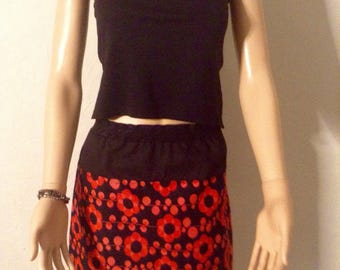 Bright red naive flowers and black matching cotton summer skirt