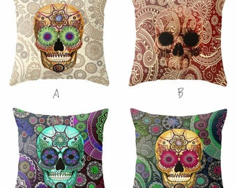 Sugar Skull Square Throw Pillow Cover Pillowcases Decorative Cushion Cover For Home Sofa Couch