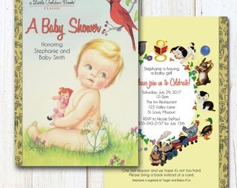 Printable Baby Shower Invitation, Little Golden Books Inspired Shower Invitation, Baby On Cover, Storybook Invitation, Robin and Baby 0510