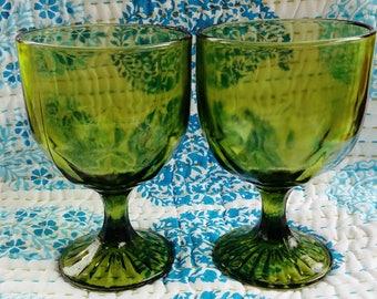 Vintage Green Glass dessert cups goblets set of 2
