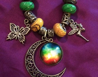 Celestial Moon Cabochon Charm Necklace with green and yellow beads