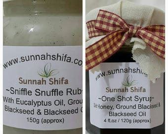 One Shot Syrup and Sniffle Snuffle Rub / Sidr Honey /  Vapo Rub / Blackseed / Blackseed Oil / cold and flu / congestion relief / cough / flu