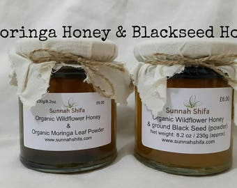 Moringa Leaf Powder / Moringa Honey / Organic Honey / Blackseed Honey / Organic wildflower honey / Moringa Oleifeira / Nigella Sativa