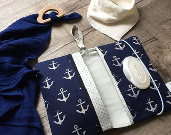 Anchors Diaperclutch with Zippered Compartment/ Nappy Wallet/Diaperpouch/Diaperclutchbag/ Momclutch/Diaper clutch