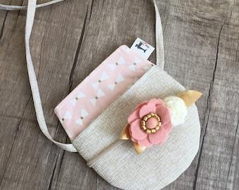 Pink gold Crossbody Toddler girl purse / birthday gift/ little girl purse/ girls first purse/ kids purse / kids bag/ girls purse/ toddler pu