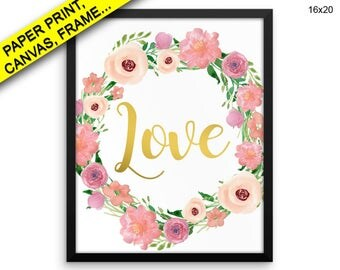 Romantic Canvas Art Romantic Printed Romantic Love Art Romantic Love Print Romantic Framed Art Romantic gold love quote love sign print
