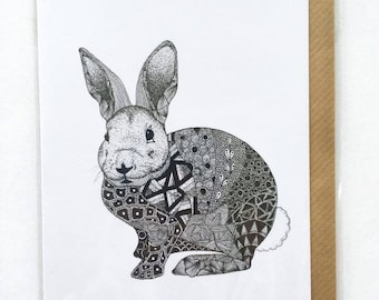 Zentangle Rabbit Card