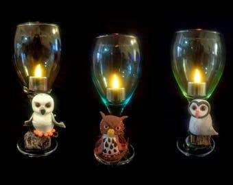 Owl wine glass set of 3