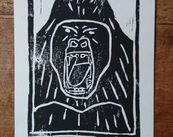 The King Woodcut Print