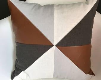 Geometric linen/ faux leather pillow cover