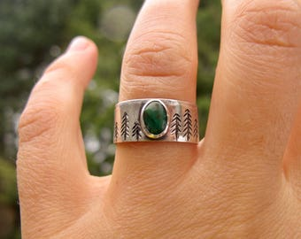 The Forest Ring. Size 6. Sterling silver and turquoise.