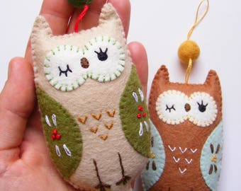 Felt PDF sewing pattern - Cute owl ornament - Christmas ornament, easy sewing pattern, DIY hanging decoration