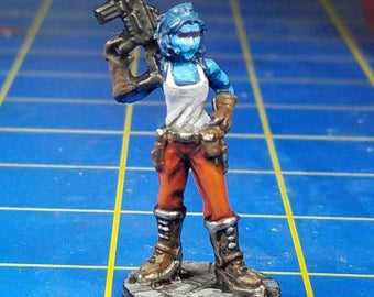 Chiss miniature for tabletop star wars rpgs.  A hand painted reaper bones mini.