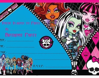 Monster High A6 Children's Birthday Party Invitations