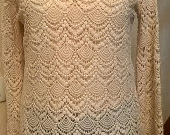 Long sleeve tunic in cream cotton lace