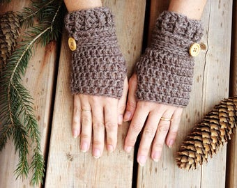 Crochet wool fingerless gloves