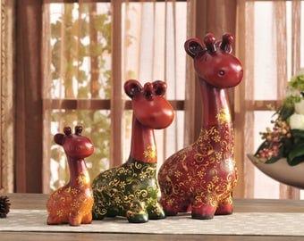 Colorful Giraffe Family - 3 Piece Sculpture Set