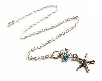 Starfish Ankle Bracelet - Chain Anklet with Starfish - Foot Jewelry - Summer Jewelry - Beach Anklets - Starfish Jewelry
