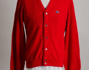 Vintage 1980's IZOD LACOSTE Red Knit Cardigan Sweater Size M