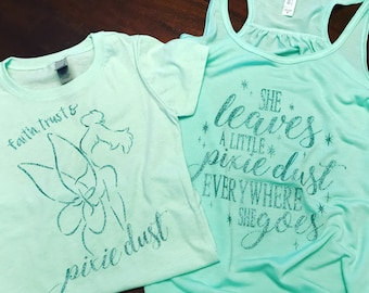 Tinkerbell inspired Mommy and Me set/ pixie dust tee