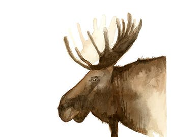 Moose Watercolor ART PRINT